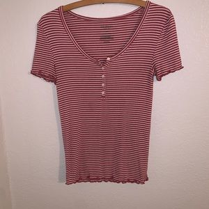 Arizona Pink and white striped button up tee